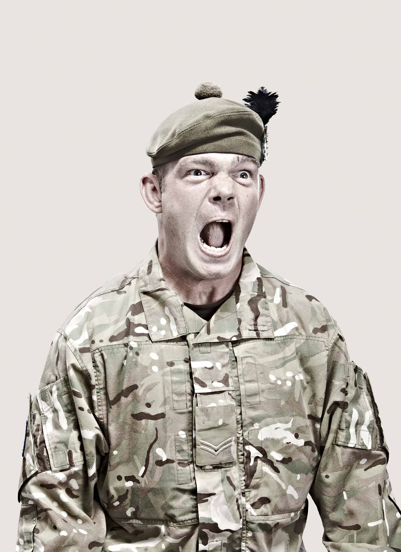 Royal Marine Commandos screaming violently
